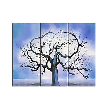Designart Blue Love Tree Canvas Art Print, 3 Panels, (PT219-32-28)