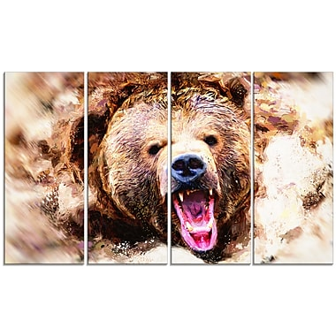 Designart Grizzly Roar Canvas Art Print, 5 Panels, (PT2300-271)