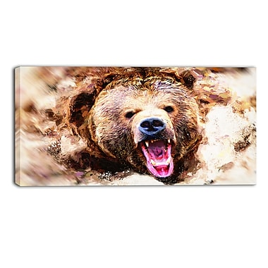 Designart Grizzly Roar Canvas Art Print, 5 Panels, (PT2300-40-20)