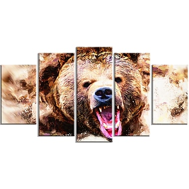 Designart Grizzly Roar Canvas Art Print, 5 Panels, (PT2300-373)