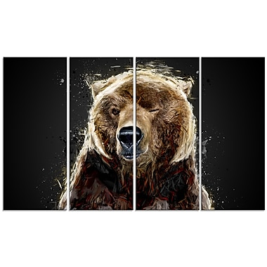 Designart Brown Bear Black Canvas Art Print, 4 Panels (PT2301-271)