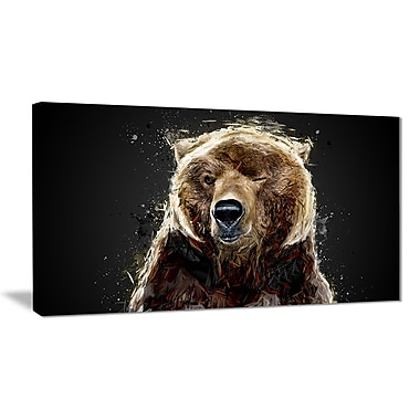 Designart Brown Bear, Black Canvas Art Print, 5 Panels, (PT2301-32-16)