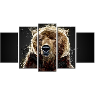 Designart Brown Bear, Black Canvas Art Print, 5 Panels, (PT2301-373)