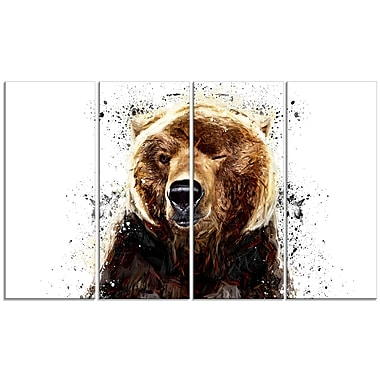Designart Brown Bear, White Canvas Art Print, 5 Panels, (PT2302-271)
