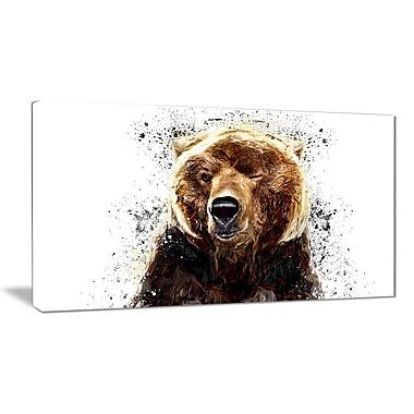 Designart Brown Bear, White Canvas Art Print, 5 Panels, (PT2302-40-20)