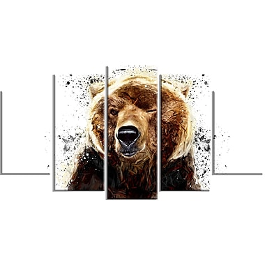 Designart Brown Bear, White Canvas Art Print, 5 Panels, (PT2302-373)