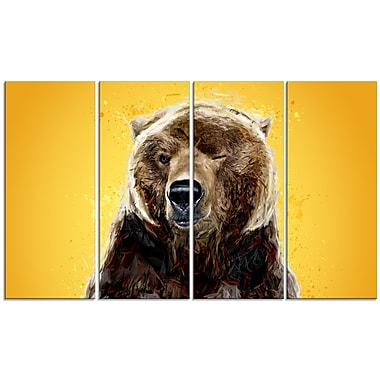 Designart Brown Bear, Yelllow Canvas Art Print, 5 Panels, (PT2303-271)