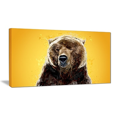 Designart Brown Bear, Yelllow Canvas Art Print, 5 Panels, (PT2303-32-16)