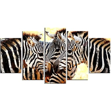 Designart Zebra Trio Canvas Art Print, 5 Panels, (PT2304-373)