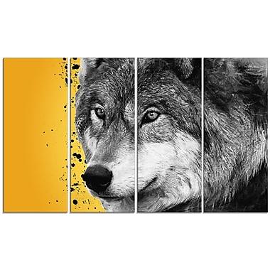 Designart Gazing Wolf Canvas Art Print, 5 Panels, (PT2305-271)