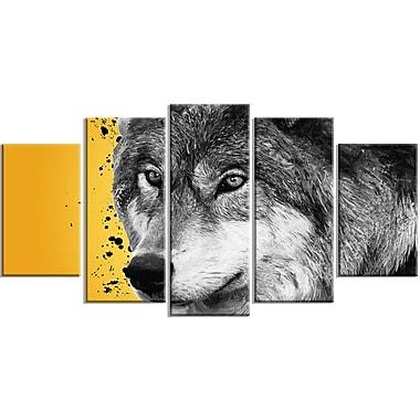 Designart – Imprimé sur toile, regard du loup, 5 panneaux (PT2305-373)