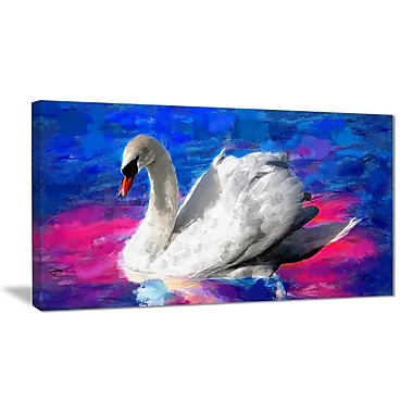 Designart Swimming Swan Canvas Art Print, 5 Panels, (PT2306-32-16)