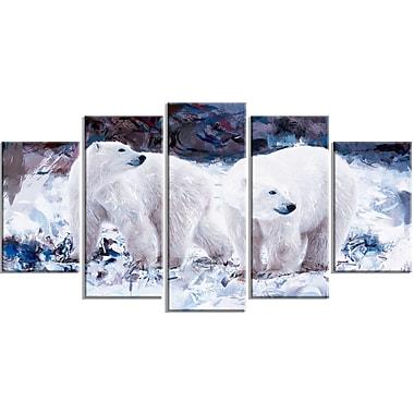 Designart – Polar Bear Pals, impression sur toile, 5 panneaux (PT2307-373)