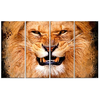 Designart Angry Lion Canvas Art Print, 5 Panels, (PT2308-271)