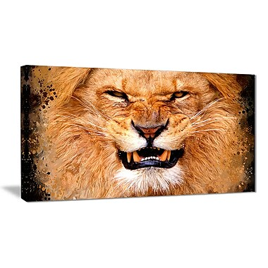 Designart Angry Lion Canvas Art Print, 5 Panels, (PT2308-32-16)