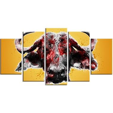 Designart – Angry Bull, impression sur toile, 5 panneaux (PT2310-373)