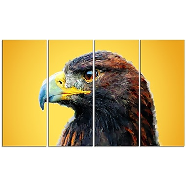 Designart Golden Eagle, Yellow Canvas Art Print, 5 Panels, (PT2312-271)