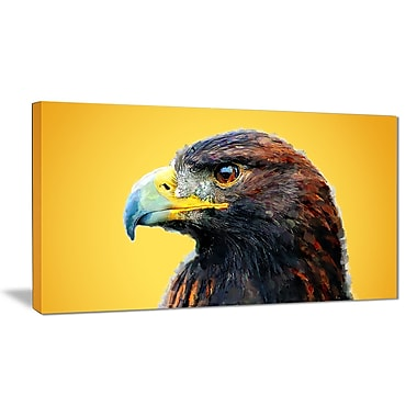 Designart Golden Eagle, Yellow Canvas Art Print, 5 Panels, (PT2312-40-20)