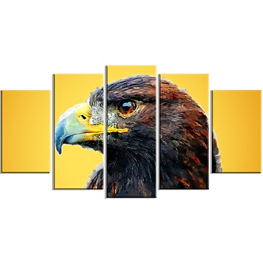 Designart Golden Eagle, Yellow Canvas Art Print, 5 Panels, (PT2312-373)