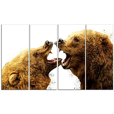 Designart Bear Fight Canvas Art Print, 5 Panels, (PT2314-271)