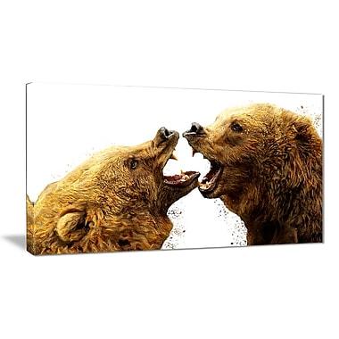 Designart – Imprimé sur toile, combat d'ours, 5 panneaux (PT2314-32-16)