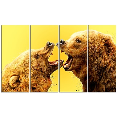 Designart Bear Fight, Yellow Canvas Art Print, 5 Panels, (PT2315-271)