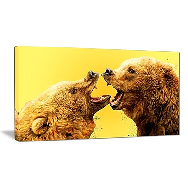 Designart Bear Fight, Yellow Canvas Art Print, 5 Panels, (PT2315-32-16)