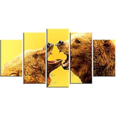 Designart – Imprimé sur toile, jaune, combat d'ours, 5 panneaux (PT2315-373)