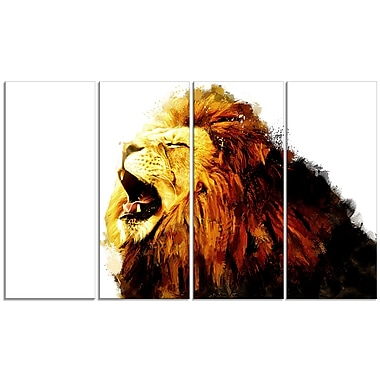 Designart Roaring Lion Canvas Art Print, 5 Panels, (PT2316-271)