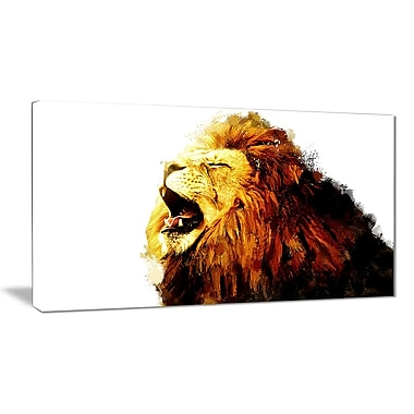 Designart Roaring Lion Canvas Art Print, 5 Panels, (PT2316-32-16)
