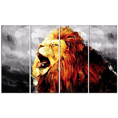 Designart Roaring Lion, Grey Canvas Art Print, 5 Panels, (PT2317-271)