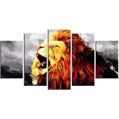 Designart Roaring Lion, Grey Canvas Art Print, 5 Panels, (PT2317-373)