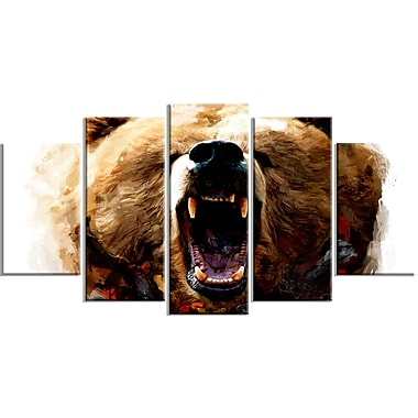 Designart Warning Roar Canvas Art Print, 5 Panels, (PT2318-373)