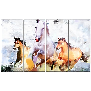 Designart Galloping Together Canvas Art Print, 5 Panels, (PT2319-271)