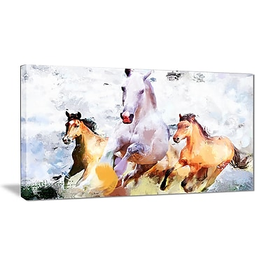 Designart Galloping Together Canvas Art Print, 5 Panels, (PT2319-32-16)