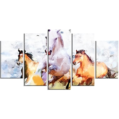 Designart Galloping Together Canvas Art Print, 5 Panels, (PT2319-373)
