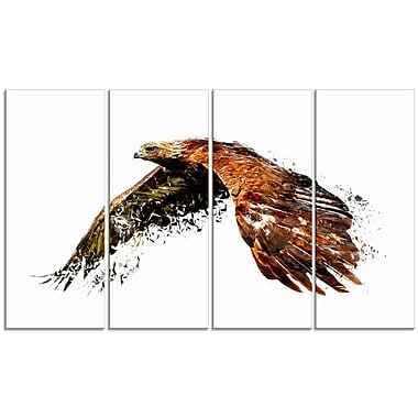 Designart Soaring Eagle, White Canvas Art Print, 5 Panels, (PT2321-271)