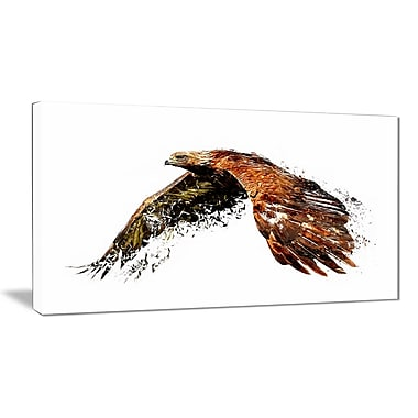 Designart Soaring Eagle, White Canvas Art Print, 5 Panels, (PT2321-40-20)