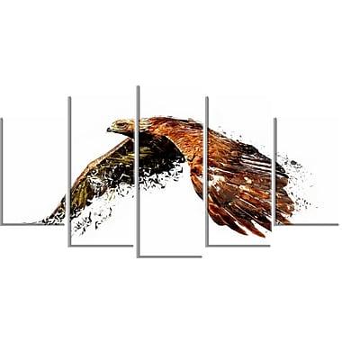 Designart Soaring Eagle, White Canvas Art Print, 5 Panels, (PT2321-373)