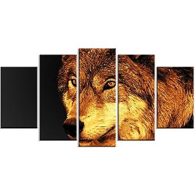 Designart – Imprimé sur toile, regard d'un prédateur, 5 panneaux (PT2323-373)