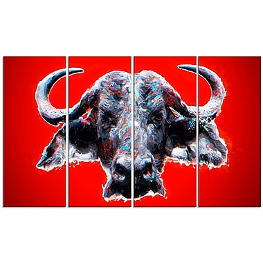 Designart Angry Bull, Red Canvas Art Print, 5 Panels, (PT2324-271)