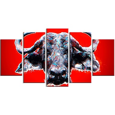 Designart Angry Bull, Red Canvas Art Print, 5 Panels, (PT2324-373)