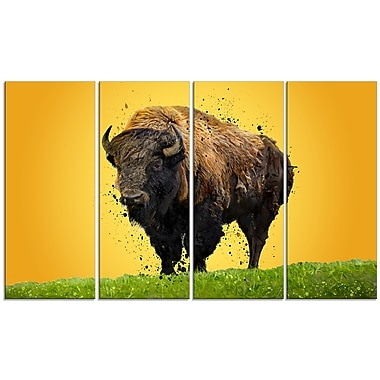 Designart Lone Bison Canvas Art Print, 5 Panels, (PT2326-271)