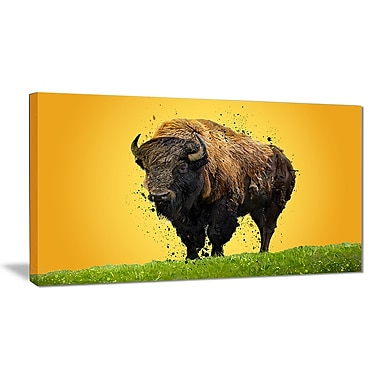 Designart Lone Bison Canvas Art Print, 5 Panels, (PT2326-40-20)