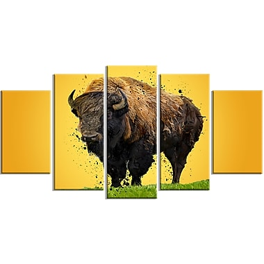 Designart Lone Bison Canvas Art Print, 5 Panels, (PT2326-373)