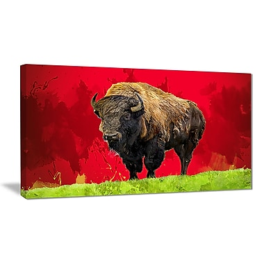 Designart Lone Bison, Red Canvas Art Print, 5 Panels, (PT2327-32-16)