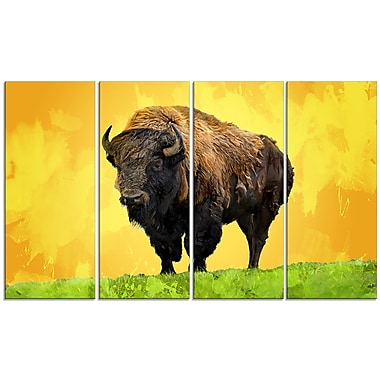 Designart Lone Bison, Yellow Canvas Art Print, 5 Panels, (PT2328-271)