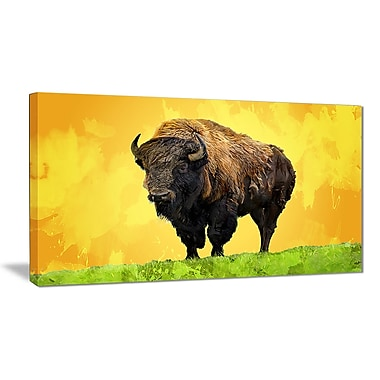 Designart Lone Bison, Yellow Canvas Art Print, 5 Panels, (PT2328-32-16)