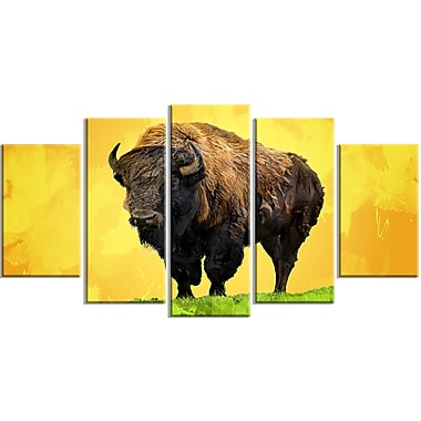 Designart Lone Bison, Yellow Canvas Art Print, 5 Panels, (PT2328-373)