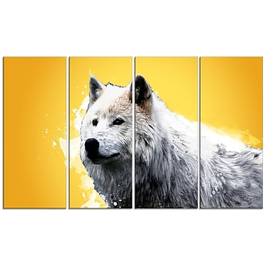 Design Art –Wonder of the Wolf, impression sur toile jaune 5 panneaux